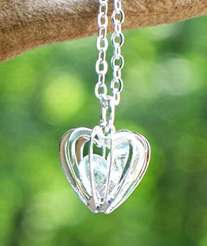 Recycled Vintage Clear Milk Bottle Heart Cage Necklace