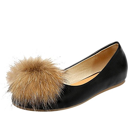 Carolbar Womens Pom-Poms Casual Comfort Dress Flats Shoes Black ZBWfF3