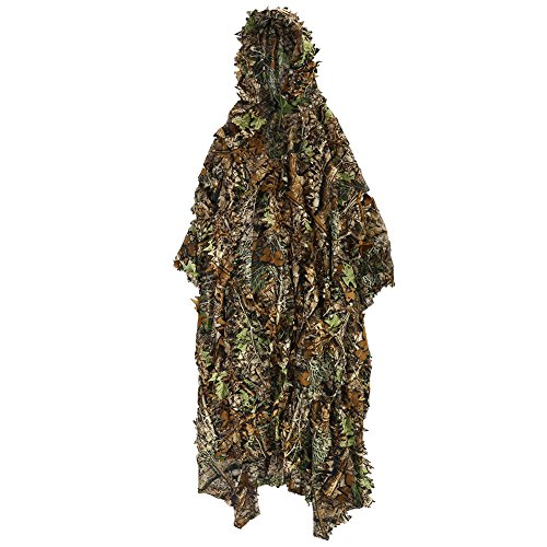 Dioche 3D Leaf Suit, Jungle Sniper Training Woodland Clothing Camouflage Cloak Clothes(Cloak)