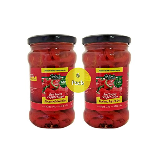 Bellina's Gourmet Non-Gmo Red Sweet Pepper Strips - 6 Pack Jars (10.2oz)