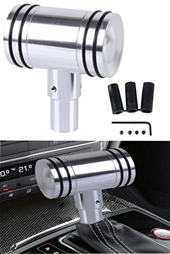 (WYYINLI Universal Manual Automatic Transmission Shift Knob T-Handle Refited Shift Knob Head with Adapter (Silver))