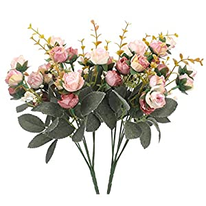 Duovlo 7 Branch 21 Heads Artificial Flowers Bouquet Mini Rose Wedding Home Office Decor,Pack of 2 (2 PCS Pink) 12