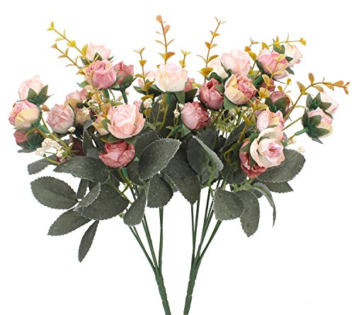 Duovlo 7 Branch 21 Heads Artificial Flowers Bouquet Mini Rose Wedding Home Office Decor,Pack of 2 (2 PCS Pink)