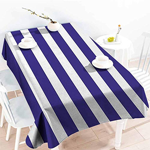 DILITECK Polyester Tablecloth Striped Nautical Marine Style Navy Blue and White Sailor Theme Geometric Pattern Art Print Easy to Clean W52 xL72 Purple