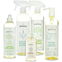 Puracy Natural Home & Kitchen Gift Set, Sulfate-Free Soaps, Non-Toxic Cleaners, Hypoallergenic Detergents, Organic Housewarming Gift [Pack of 5]