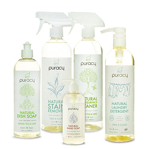 Puracy Natural Home Cleaning Essentials Set, Sulfate-Free Hand Soap, Dish  Soap, Laundry Detergent, Multi Surface Cleaner, Stain Remover Gift, (Pack  of