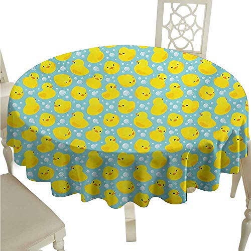 (duommhome Rubber Duck Spill-Proof Tablecloth Rubber Ducks on Water Inspired Backdrop Bubbles Funny Cute Pattern Easy Care D43 Turquoise Yellow Orange)