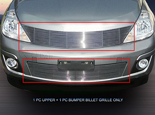 Fedar Compatible With 07-11 Nissan Versa Billet Grille Bolt Over and Replacement Style Combo Billet Grille Grill 2-pc Set-Polished #320789790