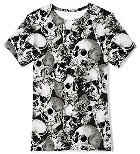 Kids Summer Hot Short Sleeve T-Shirt Full Printed Skull No Fade Pre-Shrunk Shirts Best Gift for Birthday 10Y 11Y ()