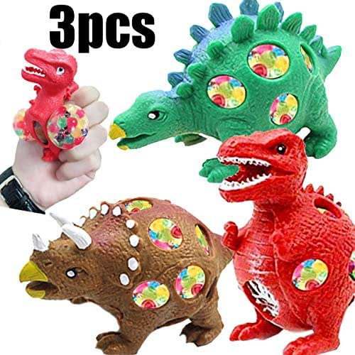 Kids and Adults Autism Toys/Dinasour Squishy Stress Ball/Stress Relief Squeeze Toys/Best Rubber Dinosaur Mesh Ball Squeeze Toy for Stress Reduction-Animal Adorable Party Favor,(3 Styles of Dinosaurs)