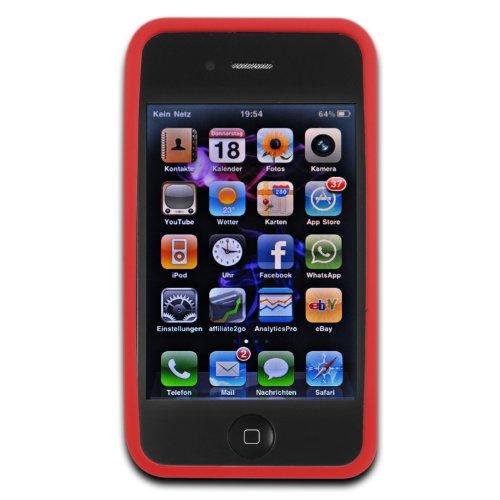 deinPhone - iPhone 4 4S Case Schutzhülle Schutz Handy Hülle Bumper Tasche Etui SOFT Case Rundmuster in Rot