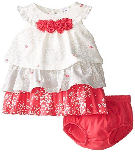 Petit Lem Baby-Girls Newborn Perfume Diva Sleevless Dress and Panties, White/Grey/Fuchsia, 6 Months