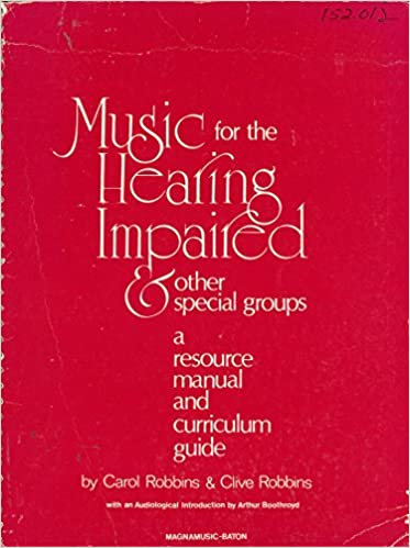 Music for the Hearing Impaired book cover. Red cover with text.