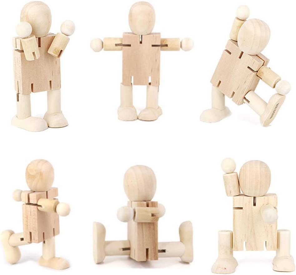 Artibetter 2Pcs Holzroboter Spielzeug Unvollendete Peg Puppen Graffiti K/örper Menschen Formen Holzfiguren DIY Malerei Puppenspielzeug f/ür Kunsthandwerk Projekte Beige