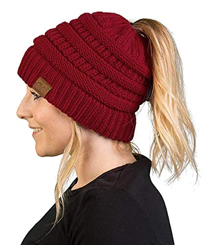 (BT-6020a-64a Messy Womens Winter Knit Hat Beanie Tail - Burgundy)