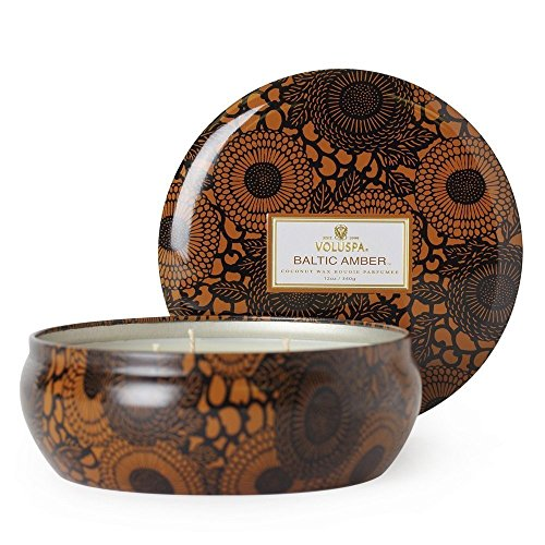 - Voluspa Decorative 3 Wick Tin/Baltic Amber, 12oz Tin