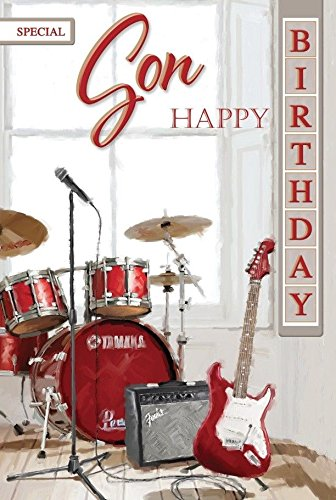 Special Son Birthday Card Drum Kit Amp Guitar Design Luxury Lovely Verse Amazoncouk Kitchen Home