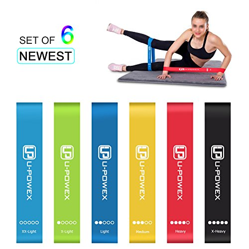 U-POWEX Loop Resistance Bands with 6 Strength Levels ,Elastic Exercise Bands for Yoga, Fitness, Gymnastics, Traction, Exercise Fitness Bands with Instruction Guide