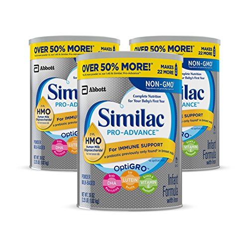 Similac Pro-Advance Non-GMO Infant Formula with Iron, with 2'-FL HMO, for Immune Support, Baby Formula, Powder, 36 oz, 3 Count (One-Month Supply)