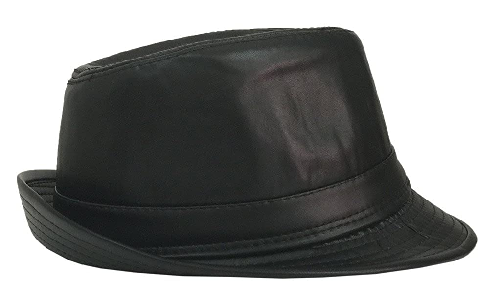 Bigood Mens Black Short Brim PU Leather Fedora Hat Cap Panama