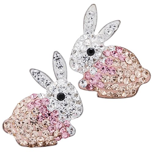 YACQ 925 Sterling Silver Crystal Bunny Stud Earrings Easter Costume Jewelry Accessories Gifts for Women Girls ...
