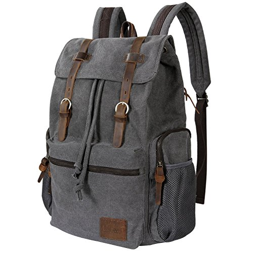 Lifewit 17 inch Canvas Laptop Backpack Unisex Vintage Leather Casual School College Bags Hiking Travel Rucksack Business Daypack