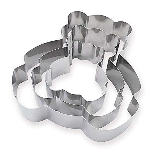 3 Tier Bear Multilayer Anniversary Birthday Cake Baking Pans,Stainless Steel 3 Sizes Rings Bear Molding Mousse Cake Rings(Bear-shapes,Set of 3) by Funwhale (Image #2)