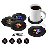 Vinyl Record Coasters Pack, Retro Novelty Style Cup
