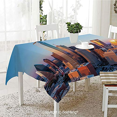 BeeMeng Spring and Easter Dinner Tablecloth,Kitchen Table Decoration,United States,Dallas Texas City with Blue Sky at Sunset Metropolitan Finance Urban Center,Multicolor,59 x 83 inches ()