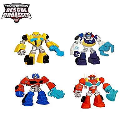 "3.5"" Hasbro Playskool Heroes Transformers Rescue Bots Figures (Bagged) Set of 4 - Bumblebee, Chase the Police-Bot, Optimus Prime, Heatwave the Fire-Bot"