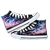 Bopstyle Starry Sky Shoes Canvas Shoes Hand-painted Sneakers (Female Size 6/Male Size 4.5, Galaxy)