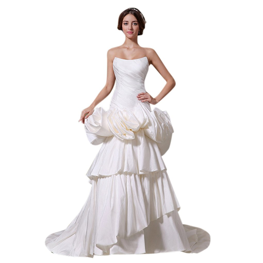 Dearta Womens Mermaid//Trumpet Strapless Court Train Satin Wedding Dresses