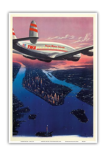 Manhattan  New York   Trans World Airlines Twa   Vintage Airline Travel Poster By Frank Soltesz C 1950S   Master Art Print   13In X 19In