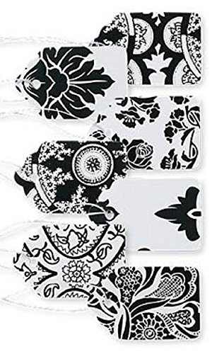 Boutique Strung Black and White Lace Paper Price Tag Assortment - Pack of 500 -