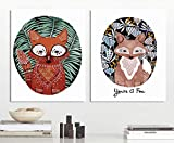 MADE4U [ Fox ] [ 20'' ] [ Thicker (1'') ] [ Wood Framed ] Paint by Numbers Kit with Brushes and Paints (Great Saver Bundle of 2) XL52X2