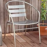PATIO Lounge Chairs Clearance Sale Stacking Aluminum and Aluminum Finish Modern Contemporary Bistro Set of 4 Stackable Lounge Dining Chairs & E-Book