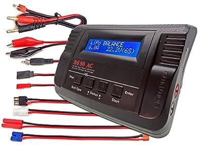 B680AC CAR Dual Power (6Amps, 80Watts): LiPo, LiIon, LiFe, NiCd, NiMh AC/DC Balancing Battery Charger w/ Deans T-Plug, Traxxas High Current, Tamiya/Kyosho/Molex, HXT4.0mm Bullet Redcat, EC3/EC-3 Plugs