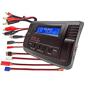B680AC CAR Dual Power (6Amps, 80Watts): LiPo, LiIon, LiFe, NiCd, NiMh AC/DC Balancing Battery Charger w/ Deans T-Plug, Traxxas High Current, Tamiya/Kyosho/Molex, HXT4.0mm Bullet Redcat, EC3/EC-3 Plugs