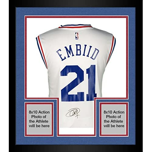 Framed Joel Embiid Philadelphia 76ers Autographed White Adidas Replica  Jersey - Fanatics Authentic Certified lovely d9e7040a1
