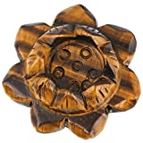 """SUNYIK Natural Tiger's Eye Stone Carved Lotus Flower Candle Holder,Crystal Ball Stand,Healing Crystal Sculpture 2"""""""
