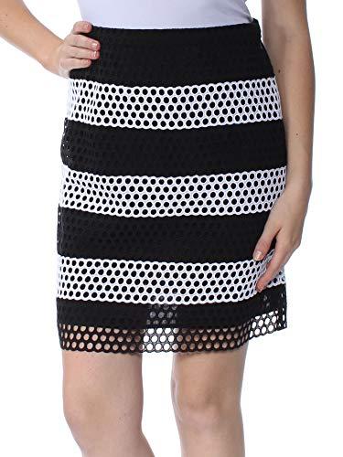 Michael Michael Kors Colorblock Wide-Striped Eyelet Skirt, Black/White (10)