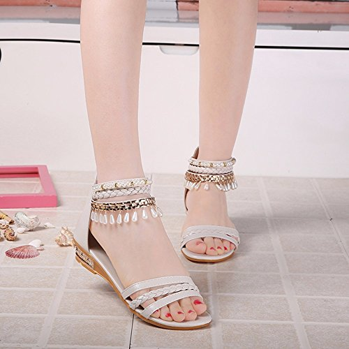 Zapatos De Mujer---Summer-Thick Flat-Fringed Sandalias De Fondo Perla Sandalias Romaní Beige