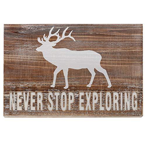 Barnyard Designs Never Stop Exploring Wooden Plaque Sign Rustic Vintage Primitive Lake House Cabin Decor 17