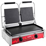 Double 8'' x 8'' Smooth Top & Bottom Commercial Panini Sandwich Grill - 120V, 3500W