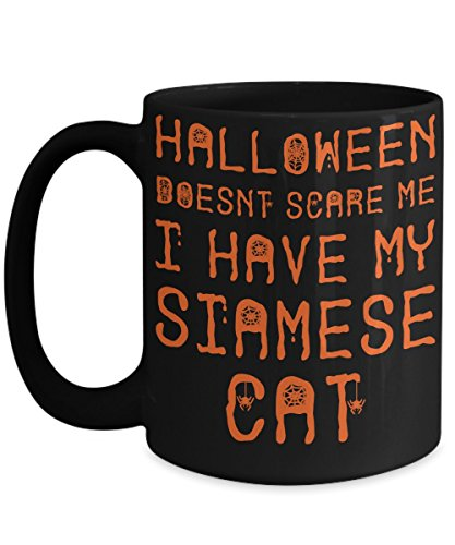 Halloween Siamese Cat Mug - White 11oz Ceramic Tea Coffee Cup - Perfect For Travel And Gifts -