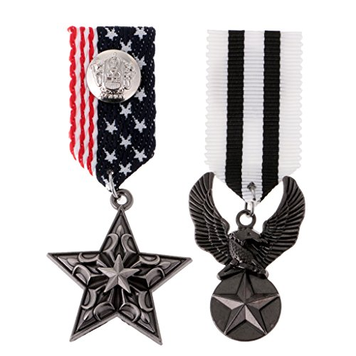 Jili Online 2pcs Army Achievement Medal Design Star Eagle Party Cosplay Badge Brooch