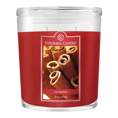 Colonial Candle 22-Ounce Scented Oval Jar Candle, Cinnamon