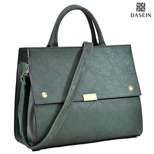 Dasein Designer Satchel Top Handle Shoulder Bag Work Purse Fashion Briefcase Style Handbag w/ Strap Dark Green