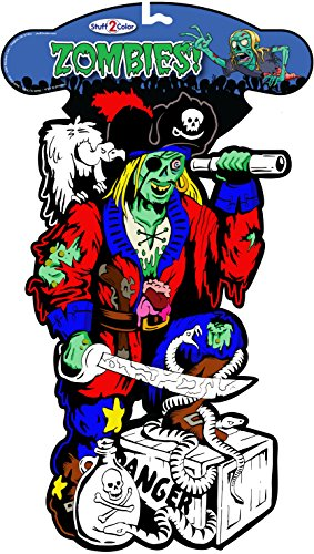 Stuff2Color Zombie Pirate - Fuzzy Velvet Coloring Diecut ()