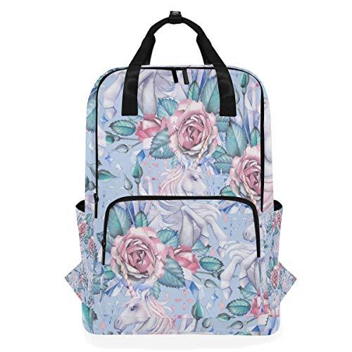 (Unicorn And Rose Vignette Student Backpack Shoulder Bag Elementary School Bookbag For Boys Girls)